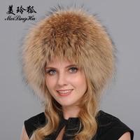Bomber Hats Women Real Fox Fur Hat Solid Russian Winter Trapper Hats Caps Fox Fur Bombers