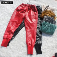 Lady Genuine Leather Pants Joggers Sheepskin Soft Real Leather Trousers Women Casual Multi Color Plus Size Harem Pants Female