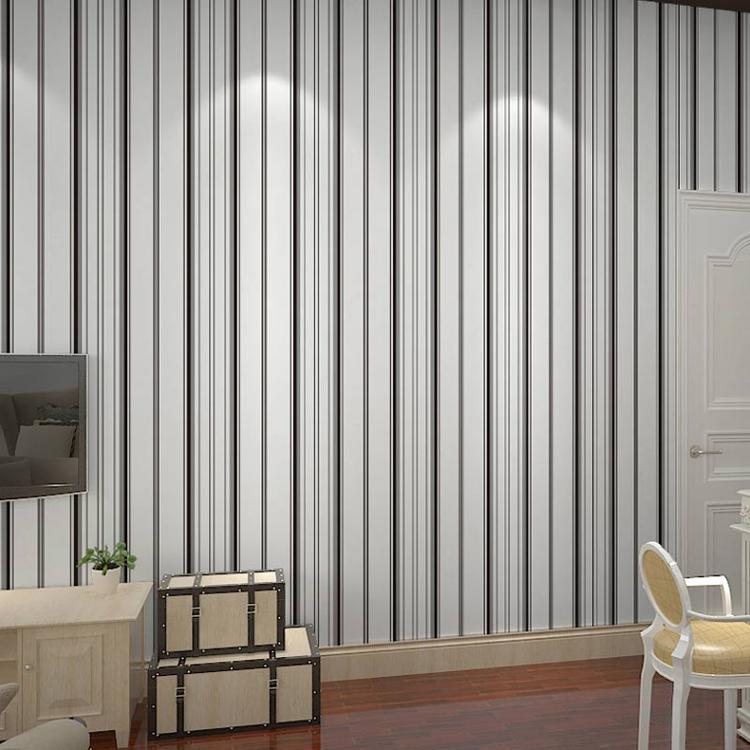 Free shipping non woven wallpaper black and white vertical striped wallpaper gray living room for Black and white striped wallpaper living room
