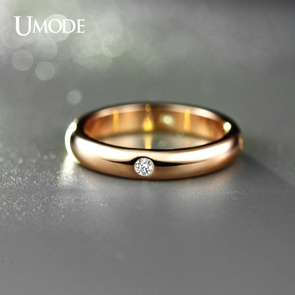 Umode Rose Gold Color Burnish 4 Pieces Cz Cubic Zirconia Aneis Feminino Flush Setting Wedding Band Ring For Women Jr0139a In Bands From Jewelry