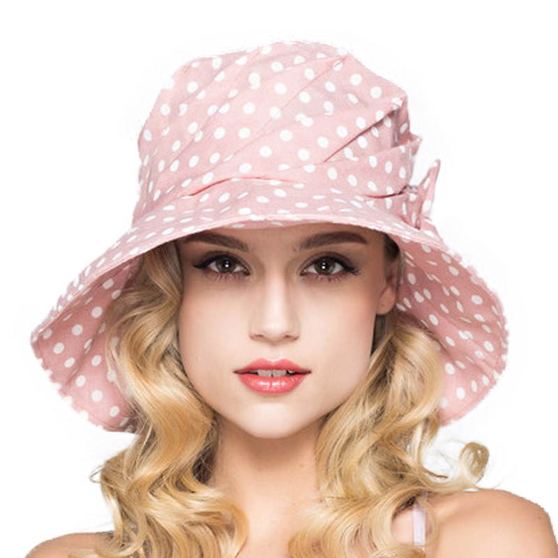 65a2b484b29 FS Fashion Summer Wide Brim Cotton Bucket Hat For Women Polka Dot Foldable  Sun Hats Casual Lady Floppy UV Beach Visors Cap-in Sun Hats from Apparel ...