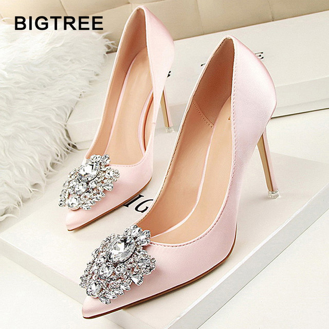 BIGTREE Star Style Sexy Pointed Toe Women Pumps Crystal Solid Silk Shallow High  Heels Shoes Women s c093e7651366