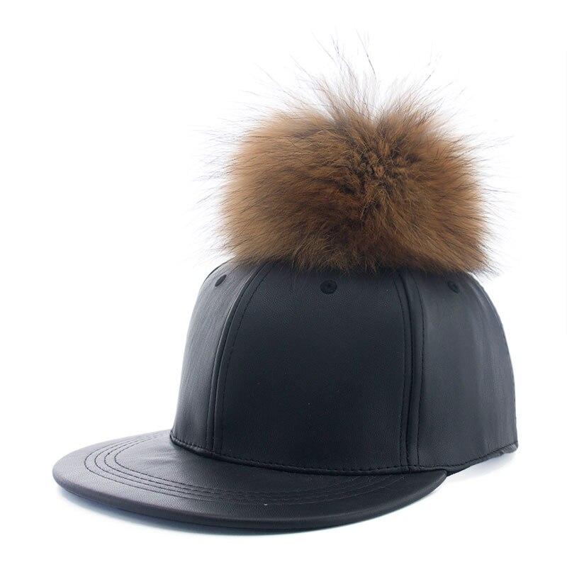 28af7da8ceb 2016 New real fur pom pom cap for women men Spring candy color PU ...