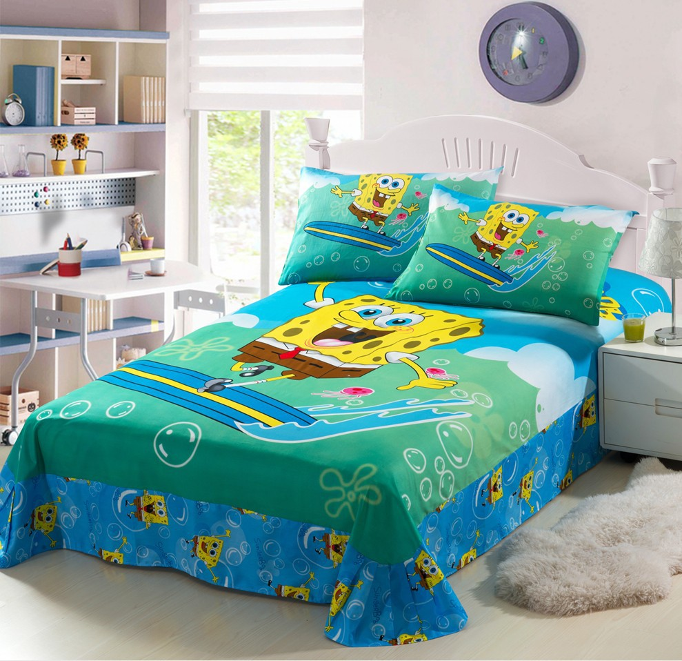 Spongebob Squarepants Green Prints Twin Full Single Size Doona Bed Cover Bedding Set Linens Sets Duvet Covers Bedspreads In From Home