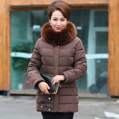 ФОТО Women Coat 2016 New Big Fur Collar Long Sleeve Parkas Fashion Middle Age Women Slim Thicken Jacket Mother Parkas A4282