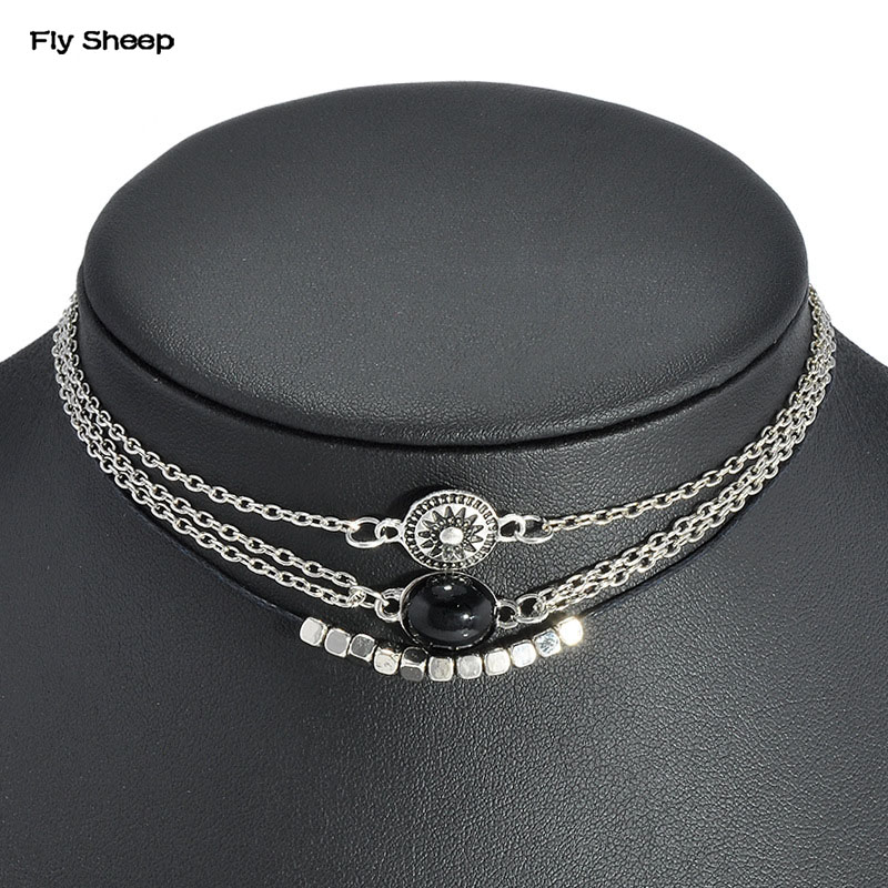 EMEA America hot-selling Engraved Pattern Imitation Black Gem Multi-layer Short Neck Chain Multilayer Combined Chorker Necklaces