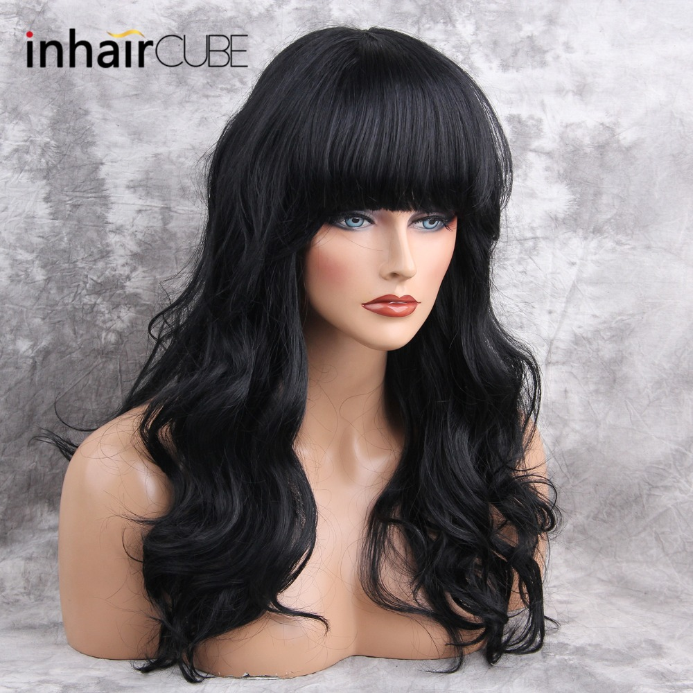 ESIN 26 Inch Long Blend Natural Hair Wig Long Body Wave Black Wigs with Bangs for White Women Imitation Top Wigs 4 Colors