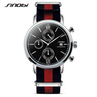 SINOBI Elegant Style Fashion Watch Women Men Fabric Strap Simple Casual Wristwatch Ladies Popular Clock Relogio