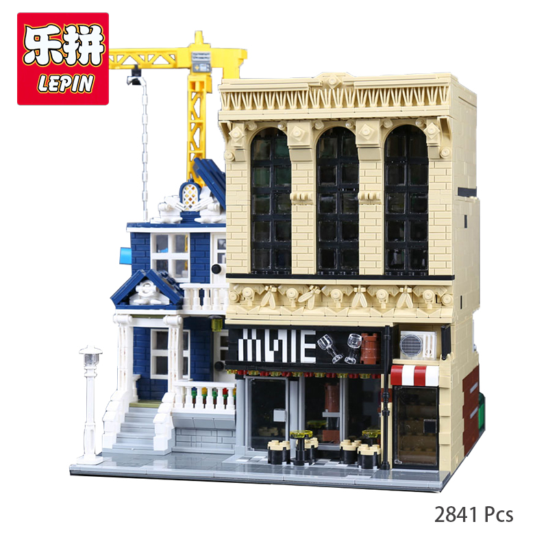 Lepin 15035 Genuine Creative MOC City Series The Bars and Financial Companies Educational Building Blocks Bricks Toys 2841 Pcs loz mini diamond block world famous architecture financial center swfc shangha china city nanoblock model brick educational toys