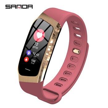 SANDA Bluetooth Смарт-часы женские спортивные часы мужские пульсометр кровяное давление фитнес-трекер умные часы для IOS Android