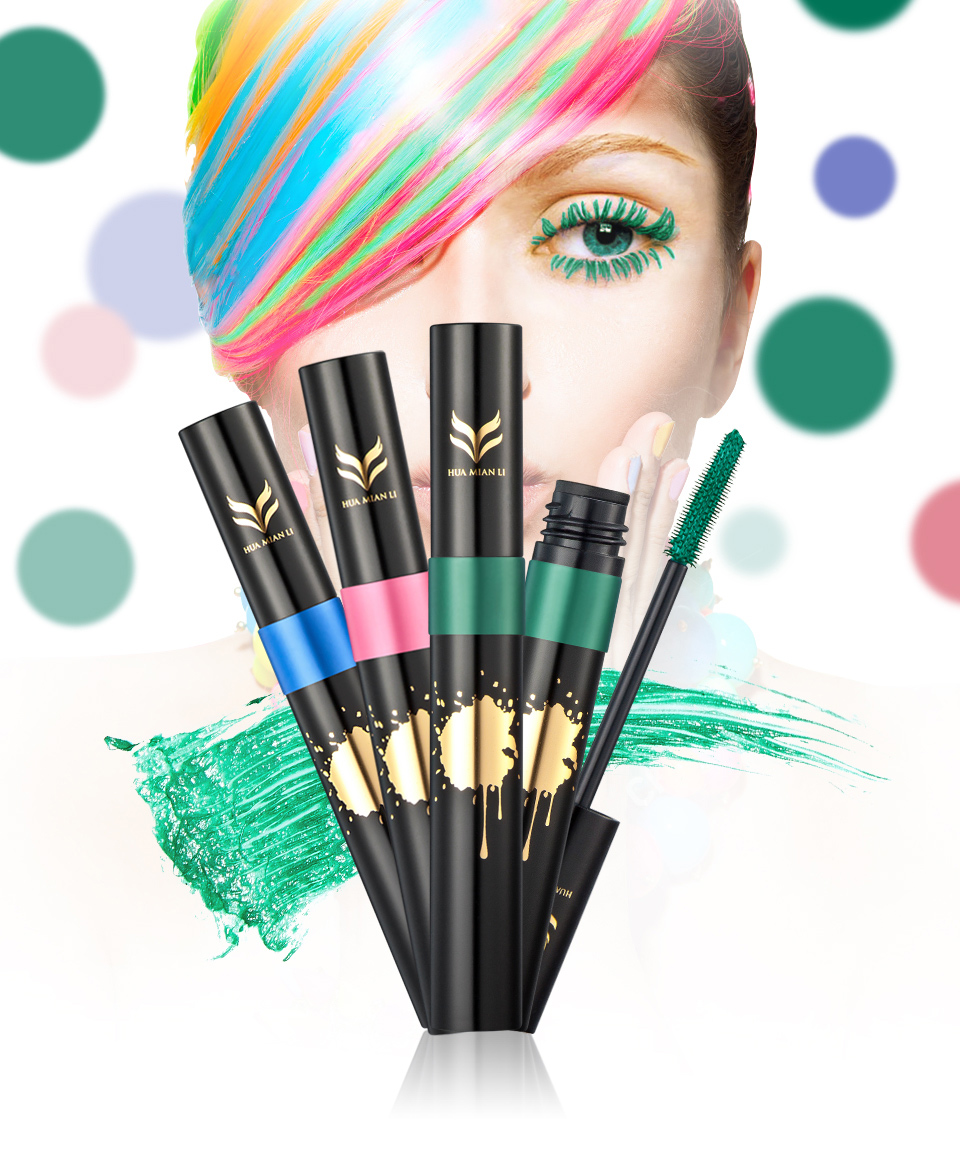 HUAMIANLI Colorful Green Blue Mascara Waterproof Lengthening Curling Eye Lashes Silicone Women Professional Makeup 3D Mascara 1
