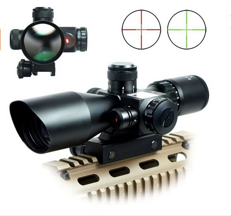Free shipping 2 5 10X40 Riflescope Illuminated Tactical Riflescope with Red Laser Scope Hunting Scope