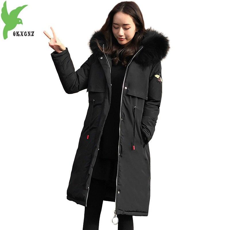 Grande taille 5XL femmes vestes d'hiver en coton Parkas épais chaud coton manteaux broderie Parkas à capuche 100 KG peut porter OKXGNZ1398