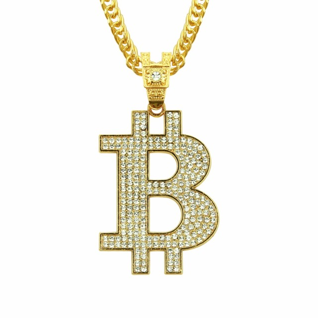 US $7 92 10% OFF|RIEJIKVW Crystal Bitcoin Pendant Unisex Necklace Men Women  Hip Hop Chain Necklaces Bitcoin Silver Gold Jewelry Gift Dropshipping-in