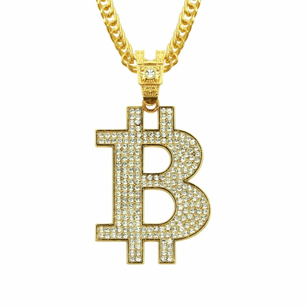 RIEJIKVW cristal Bitcoin colgante Unisex collar hombres mujeres Hip Hop cadena Bitcoin oro plata joyería regalo Dropshipping