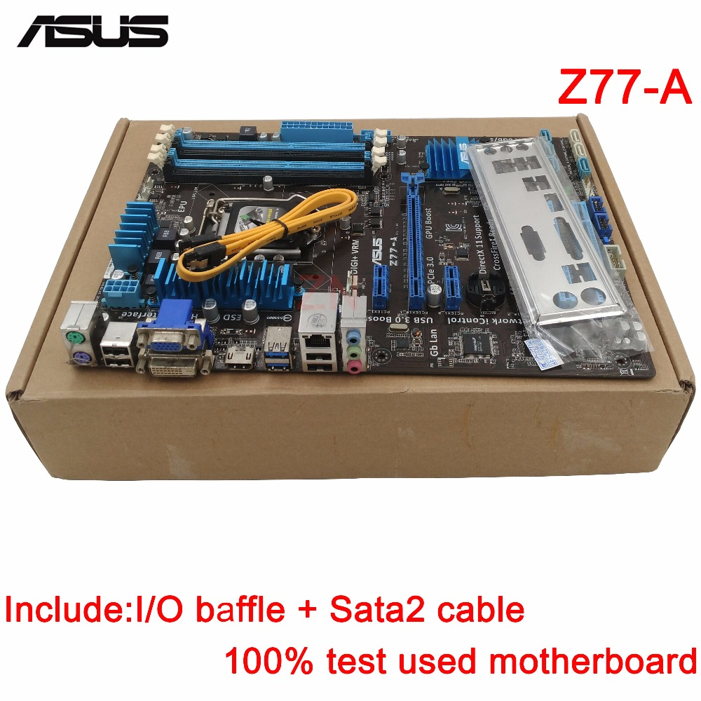 original Used Desktop motherboard For ASUS Z77-A support Socket LGA 1155 I7 I5 I3 4*DDR3 support 32G 2*SATA3 4*SATA2 ATX купить