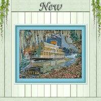 Sailing Travel Scenery 11CT Printing On Canvas DMC 14CT Cross Stitch Kits Needlework DIY Embroidery Sets