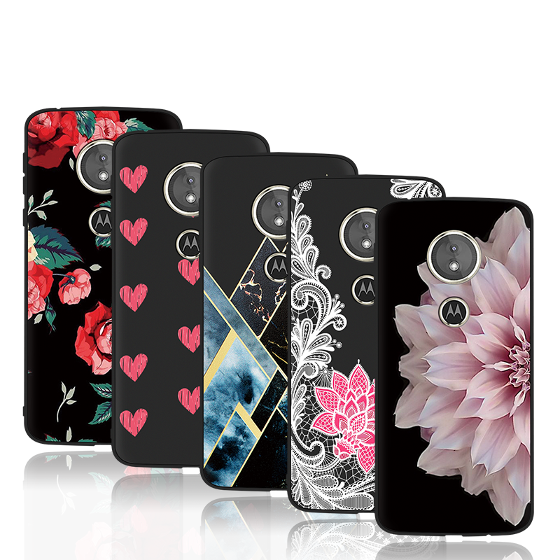 Fashion Lace Flower Cover For Motorola Moto G6 Play Soft Silicon Case For Motorola Moto E5 G5 G5S Plus King Queen Patterned Case