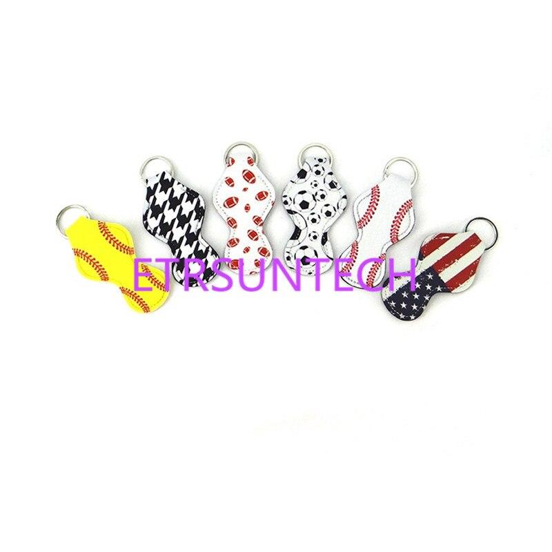 200pcs lot fast shipping Sports balls prints neoprene chapstick holder lip balm holder