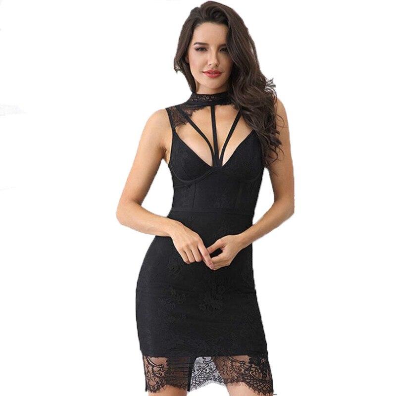 ERANLEE 2018 Fashion Spring Women Bandage Dress Party Dresses Sexy Sleeveless Hollow Out Knee Length Tank Lace Dress Vestidos