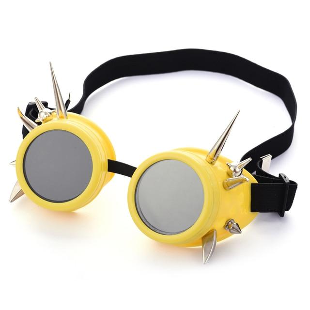 7130ec29dd7 Steampunk Yellow Goggles Silver Rivet Glasses Retro Welding Punk Gothic  Victorian Cosplay Spikes Goggles Eyewear Halloween