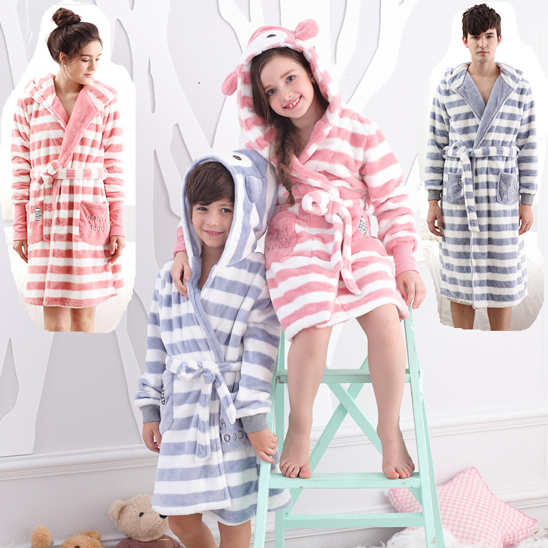 Lovers Robe Flannel Thickening Coral Fleece With A Child Lounge Sleepwear Long-sleeve Famliy Winter Bathrobe Couples Bathrobes