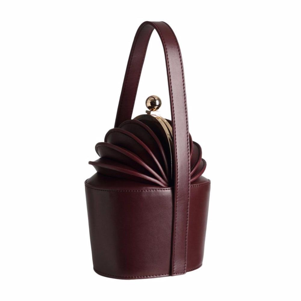 2018 NEW Women Vintage Bucket Bag Ladies Pineapple Style Baskets Tote For Female Woman Bag Genuine Leather Mini Handbags