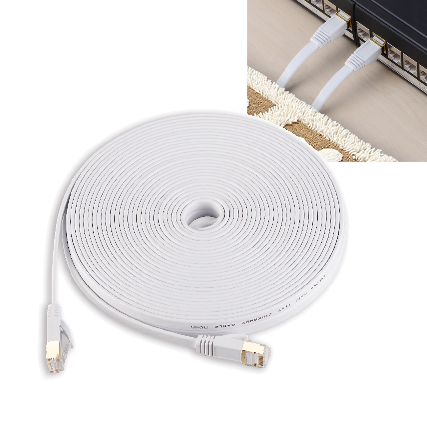 100ft 30m White Ethernet Cable Cat 7 Cat7 Flat Network Patch Cable RJ45 Shielded (SSTP) Lan Cable CAT7 CAT 7 Cable 30M