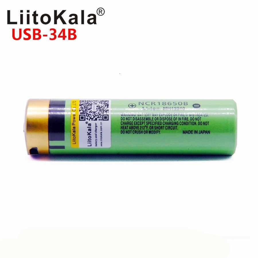 LiitoKala USB-34B 3,7 В 18650 3400 мАч литий-ионный USB Перезаряжаемые Батарея с светодио дный индикатор DC-зарядки