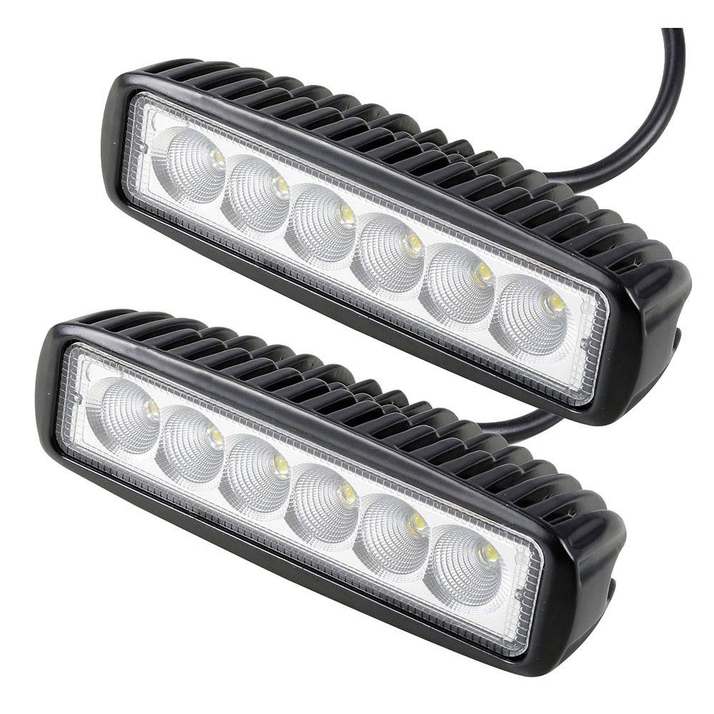 2PCS 18W 12V LED Work Light Bar Spot Flood Lamp Driving Fog LED Work Car Light For 4×4 Offroad SUV Car Truck Trailer Tractor UTV
