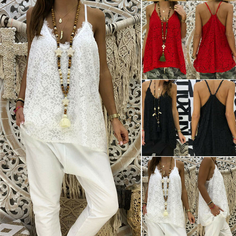 Casual Loose Women Lady Lace Backless Tops V Neck Cami Sleeveless Tank   Blouse     Shirt