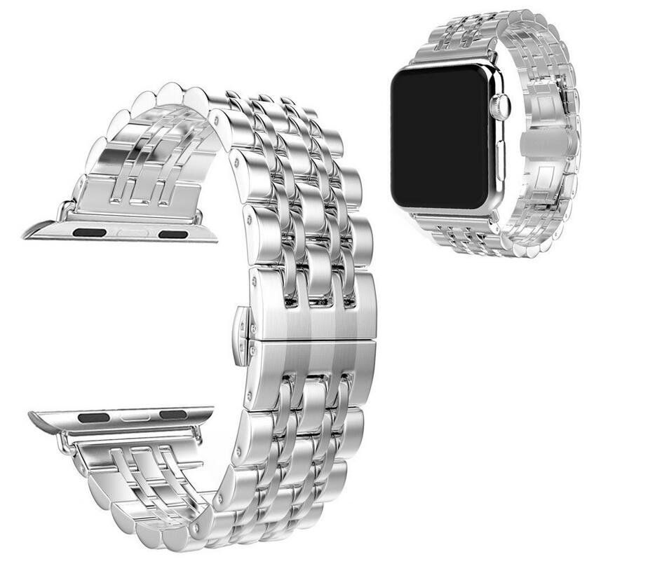 DHL 50pcs/lot Metal Stainless Steel 7 Points Watch Band for Apple Watch Strap Black Silver Rose Gold Butterfly Clasp Bracelet-in Smart Accessories from Consumer Electronics    3
