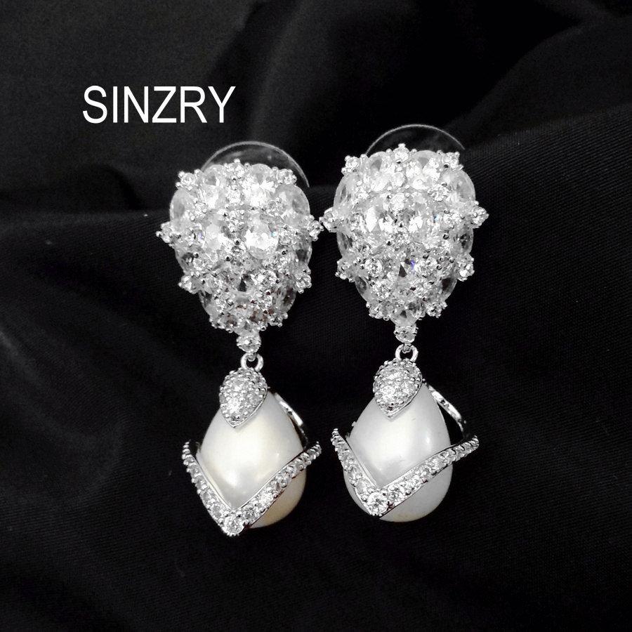 SINZRY JEWELRY clear white cut cubic zircon simulated pearl elegant brilliant bridal wedding trendy drop Earrings women