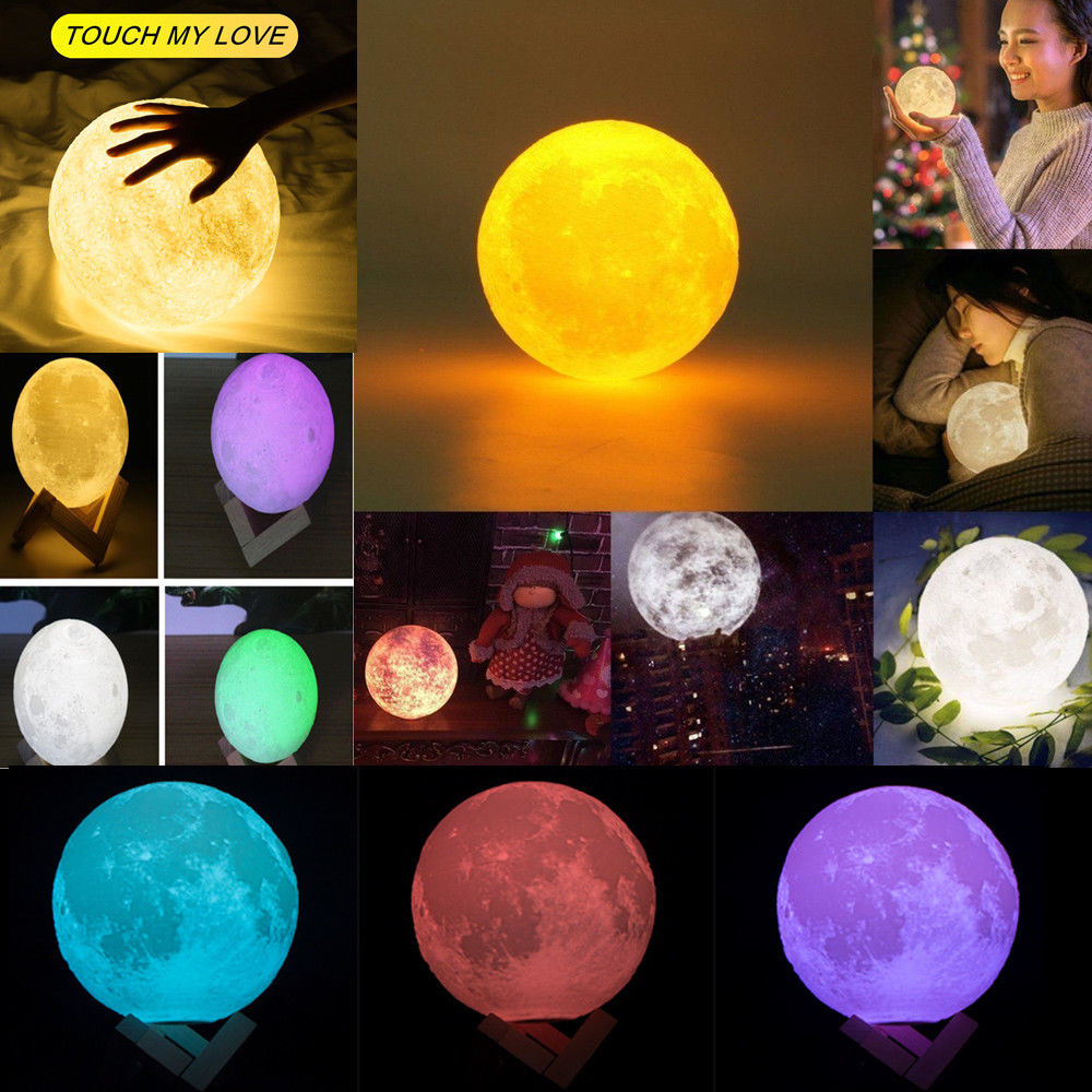 3D Print Moon Lamp 16 Color Change Luna Remote Control Touch Switch Bedroom Bookcase Night Light Home Decor Creative Gift 7 colors led night light moon lamp 3d print moonlight luna touch 2 colors change for creative gift home decor