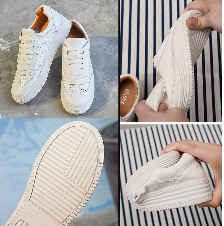 2018 women basic white lace up flat casual shoes fashion sewing genuine leather flat breathe shoes