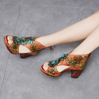 2019 VALLU Summer Women Sandals Retro Style Handmade Design Pumps Lady Genuine Leather High Heel Sandals Women's Zipper Shoes