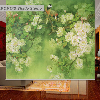 MOMO Roller Blinds Shades Blackout Floral Window Curtains Roller Shades Blinds Thermal Insulated Fabric Custom Size, Alice 462