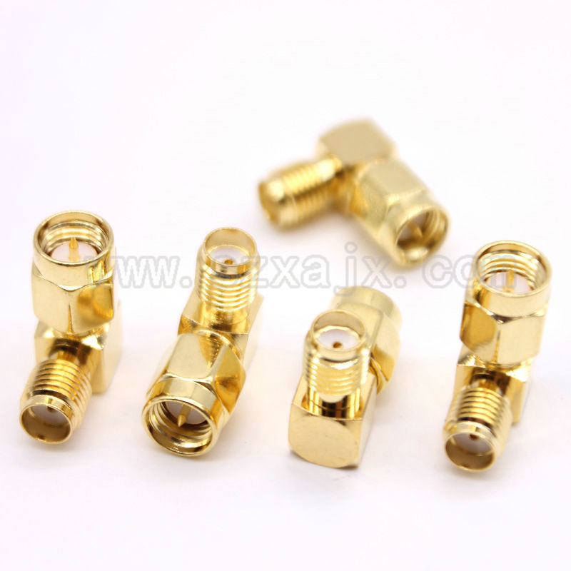 JX 5PCS SMA to SMA connector 90 degree right angle SMA male to female adapter screw the needle to SMA male to female fast ship 4pcs gold plated right angle rca adaptor male to female plug connector 90 degree