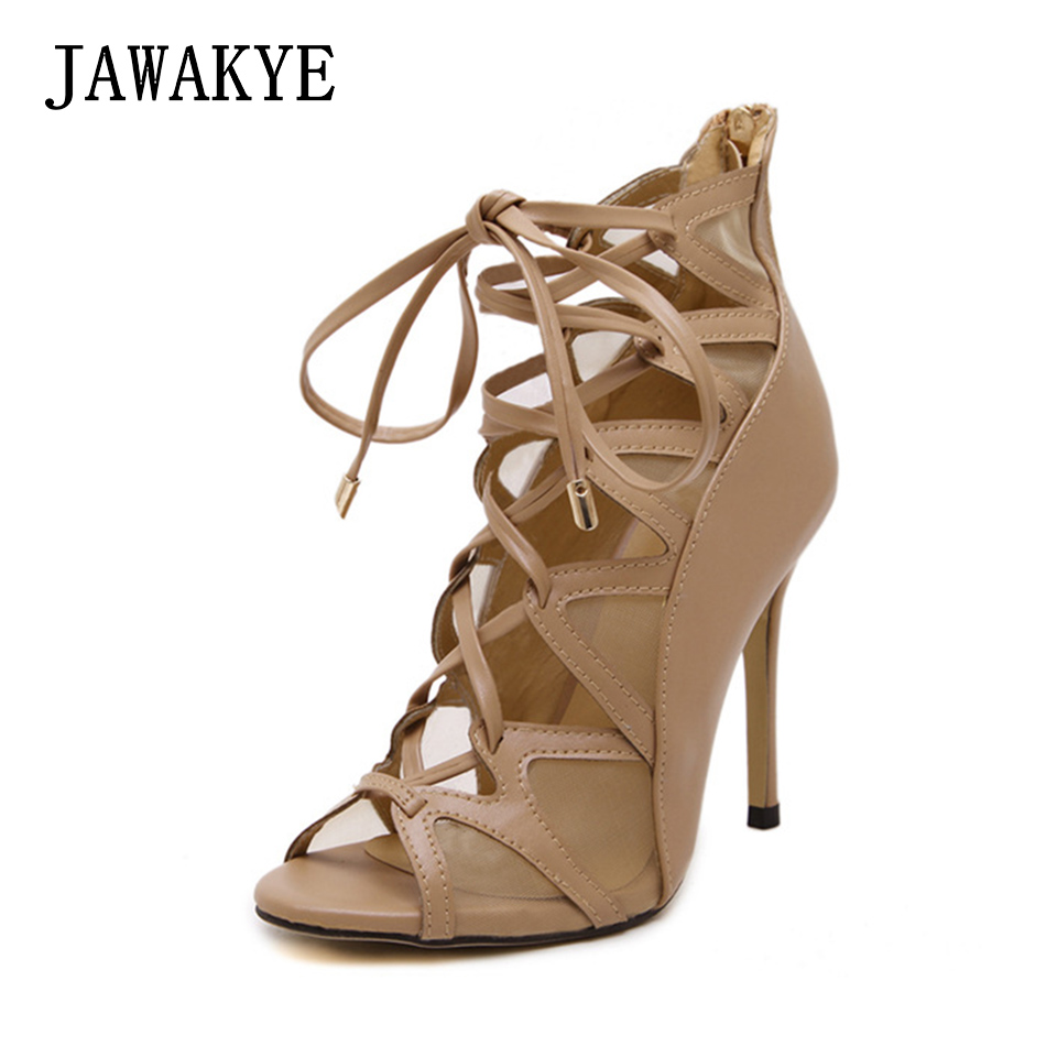 New Sexy Cut outs Strappy Heels Gladiator Sandals Women Brand Summer Shoes Ankle Lace up Summer boots ladies party shoes cow leather gladiator sandals cut outs decorative border rhinestones women shoes high heels summer shoes sizes 22 5cm 25cm