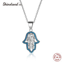 Shineland Mother Gift 925 Sterling Silver Fatima Hamsa Hand Necklace Pendant Blue Stone Clear Cubic Zircon