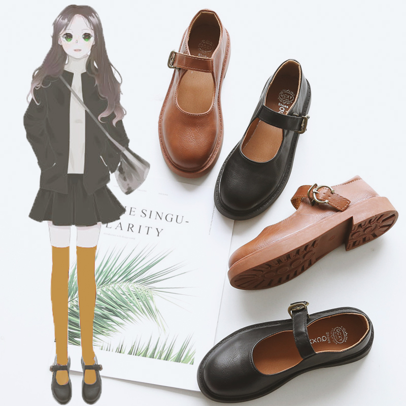 Round Toe Shoes Student Shoes College Mori Girl Lolita Shoes PU Leather Mary Jane Flats Shoes Monk Straps