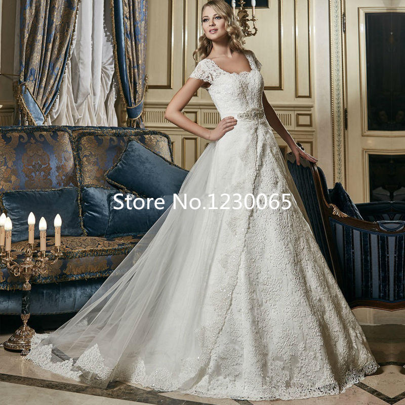 Beaded Wedding Dress With Detachable Train: Vestido De Noiva A Line Detachable Train Wedding Dress