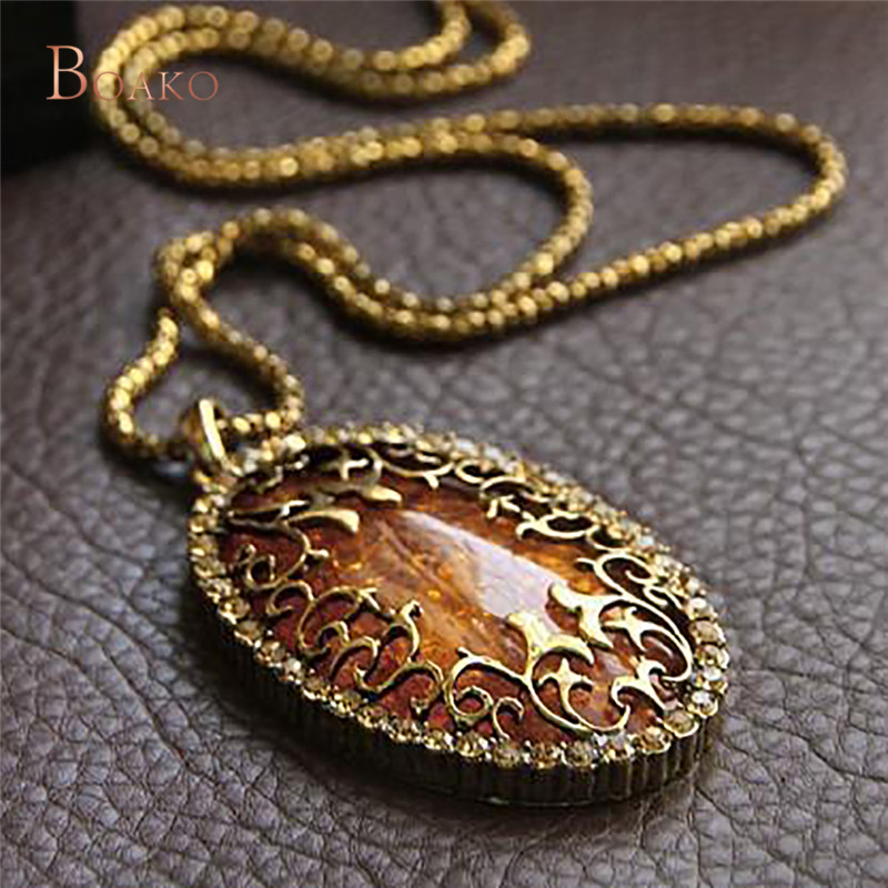 Gold-Color Stone Vintage Cameo Crystal Pendant Necklace For Women Sweater Long Chain Statement Necklaces 76cm Jewelry Z4