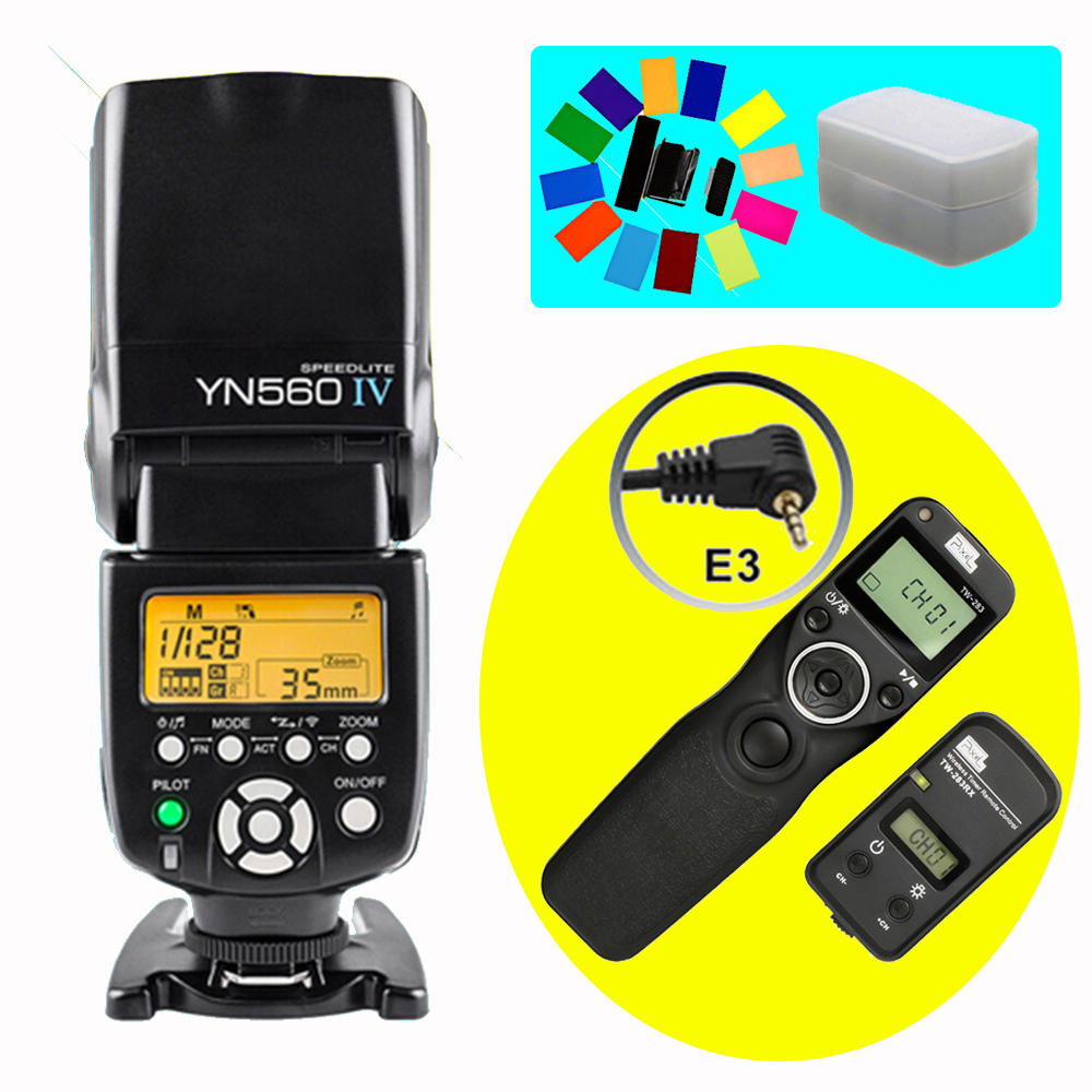 YONGNUO YN560 IV YN560IV Wireless Flash Speedlite & Pixel TW-283 E3 Timer Remote Control For Canon 70D 1200D 1100D 1000D 760D
