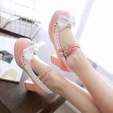 Vintage sweet lolita shoes thick middle heel bowknot princess kawaii girl women shoes lolita cosplay shoes student loli cos PU princess sweet lolita gothic lolita shoes lolita cos punk wedges increased women s shoes deep red 9101