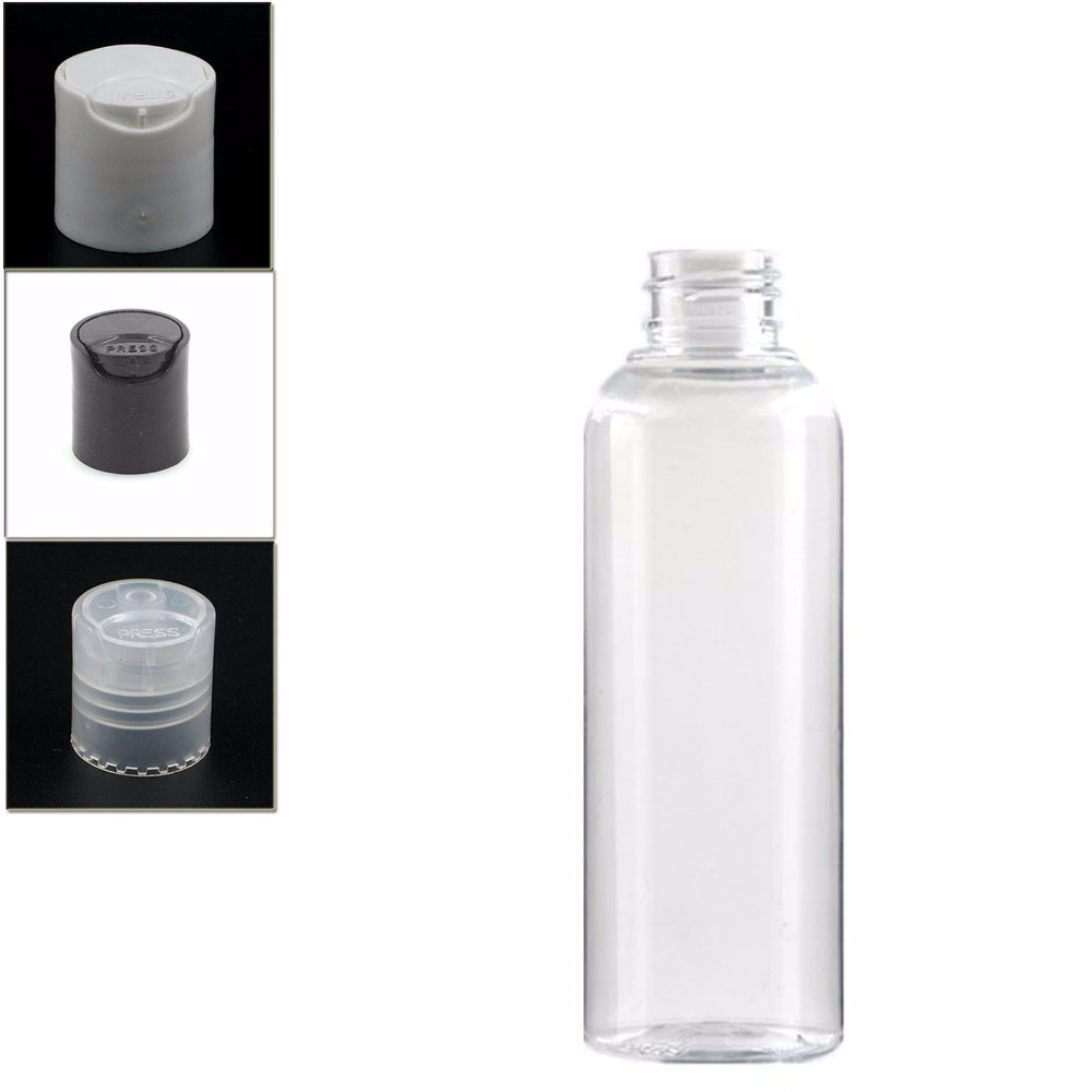 200ml Empty Dispensing Caps Plastic Bottles, Clear PET Bottle  With Black Disc Top Cap