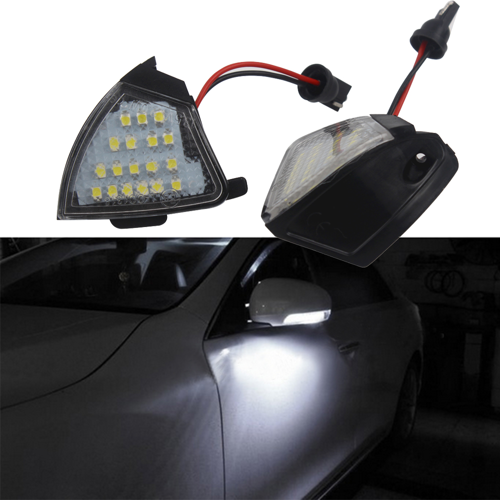 2 Pcs High Quality Rearview Mirror Lamp For VW Golf 5 Passat Jetta EOS Error Free Puddle Lamp LED Under Side Mirror Light canbus no error 2x led under mirror light for vw passat santana scirocco eos cc car styling replacement auto accessory lamp
