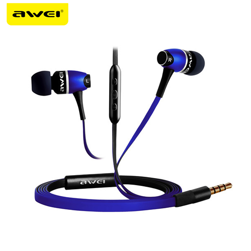 AWEI ES-80VI Metal Headphones In Ear Earphone Fone de ouvido Super Bass Stereo Auriculares Audifonos Headset Kulakl k Kulaklik