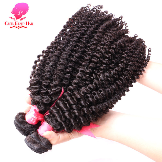QUEEN BEAUTY HAIR Brazilian Kinky Curly Hair Weave Remy Human Hair Bundles 1PC 8-30 inch Natural Color Hair Weft Free Shipping
