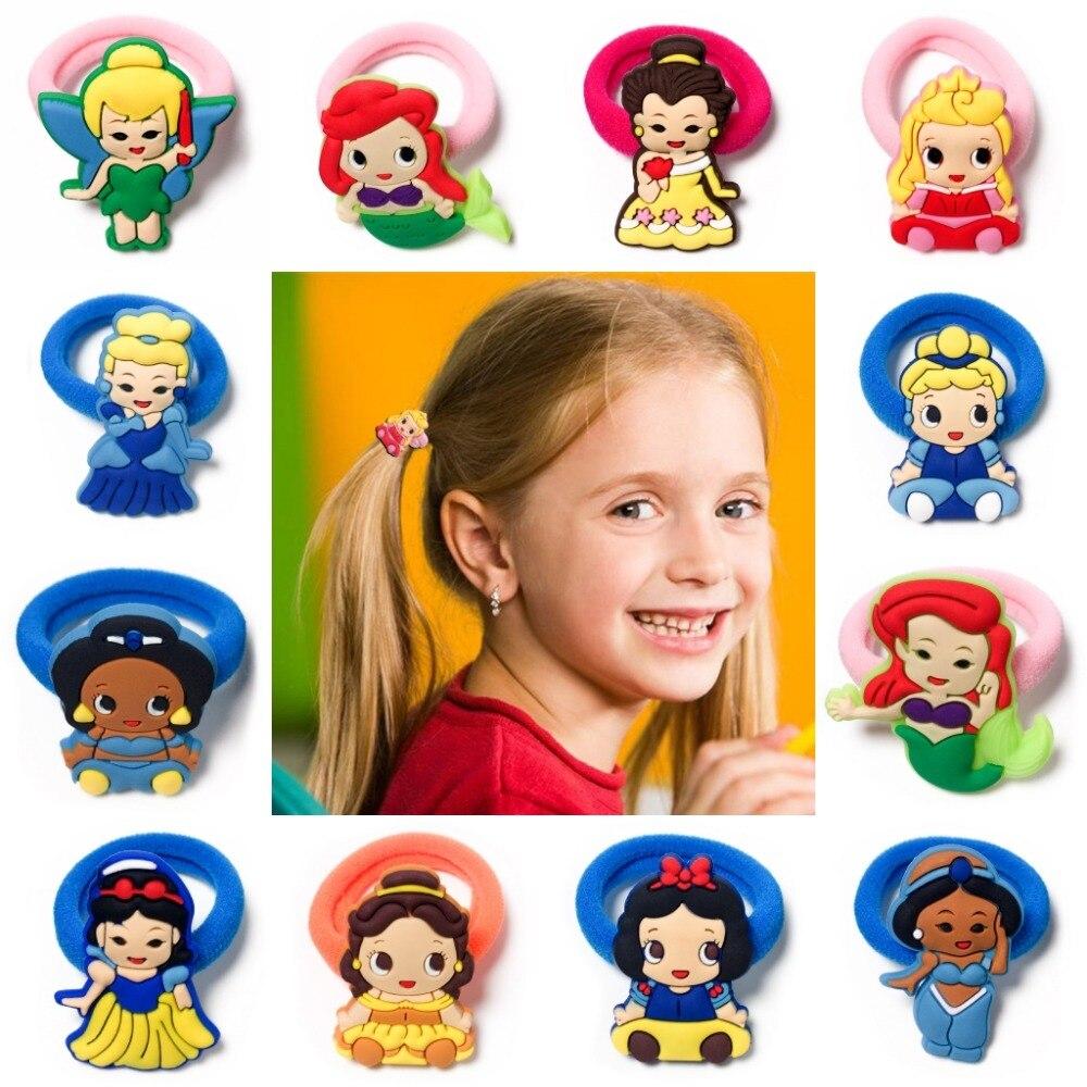 10pcs/lot Princess Royal Baby Girls Hair Accessories Hair Bands Elastic Hair Ropes Ponytail   Headwear   Girls Party Small Gift
